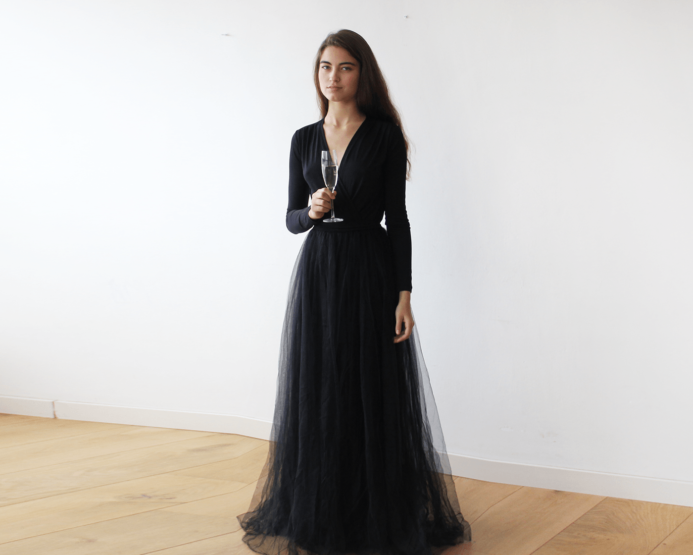 Black Long Sleeve Tulle Dress