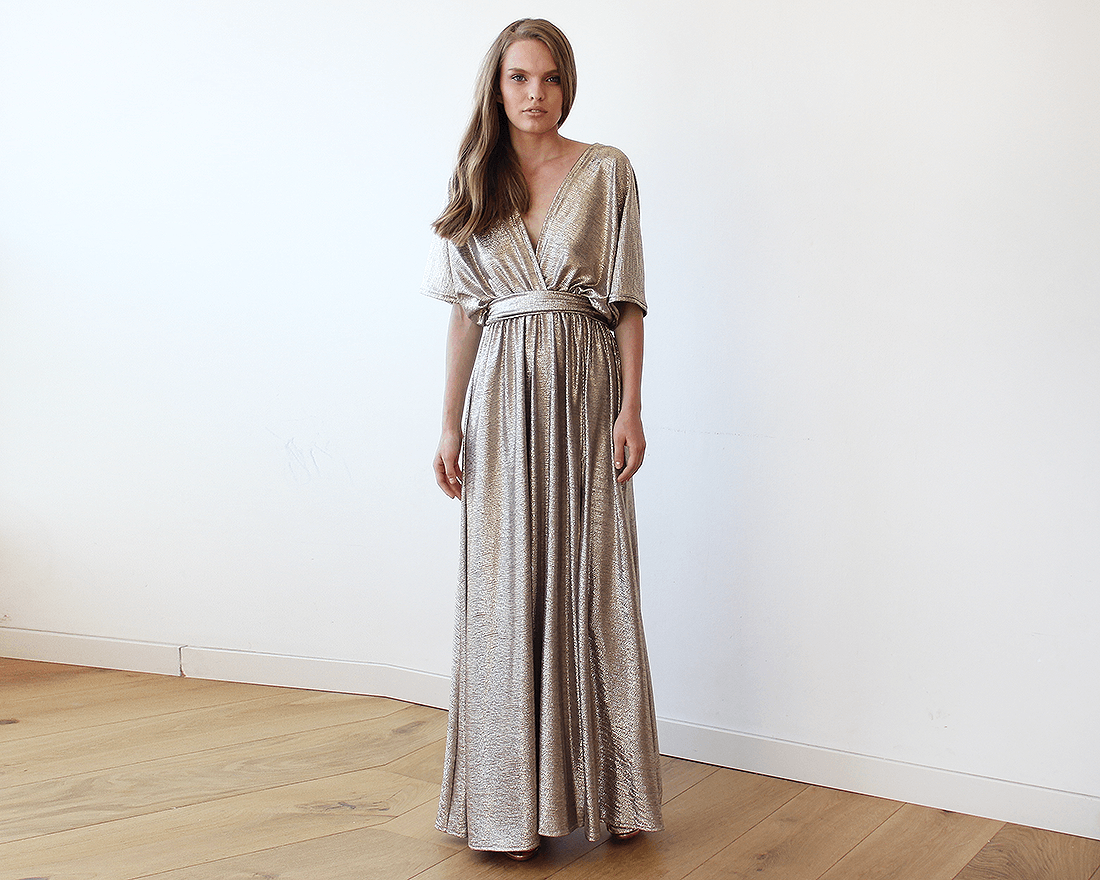 Metallic Gold Bat-Sleeve Maxi Dress | BlogDresses