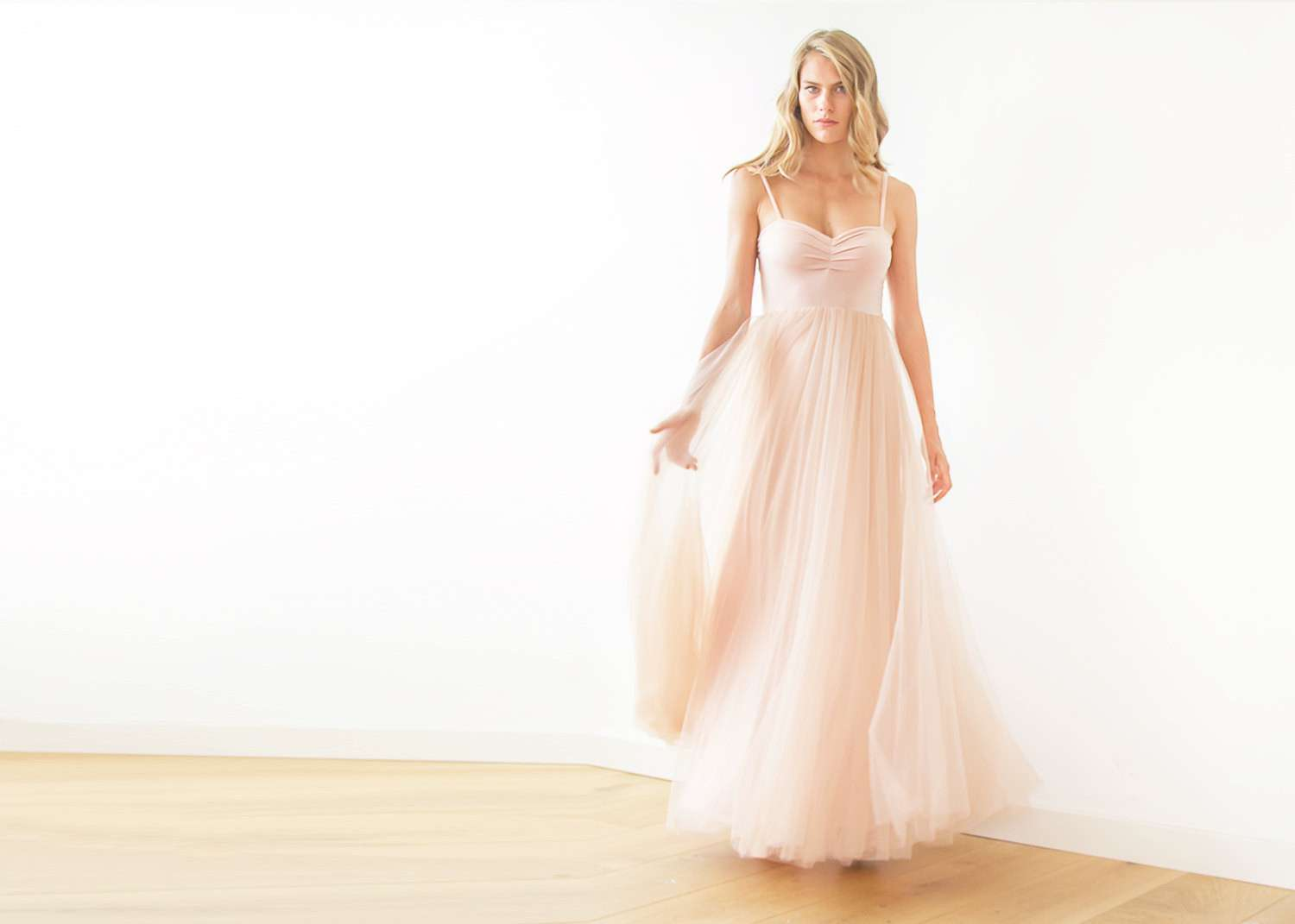 Blush pink maxi ballerina tulle dress | BlogDresses