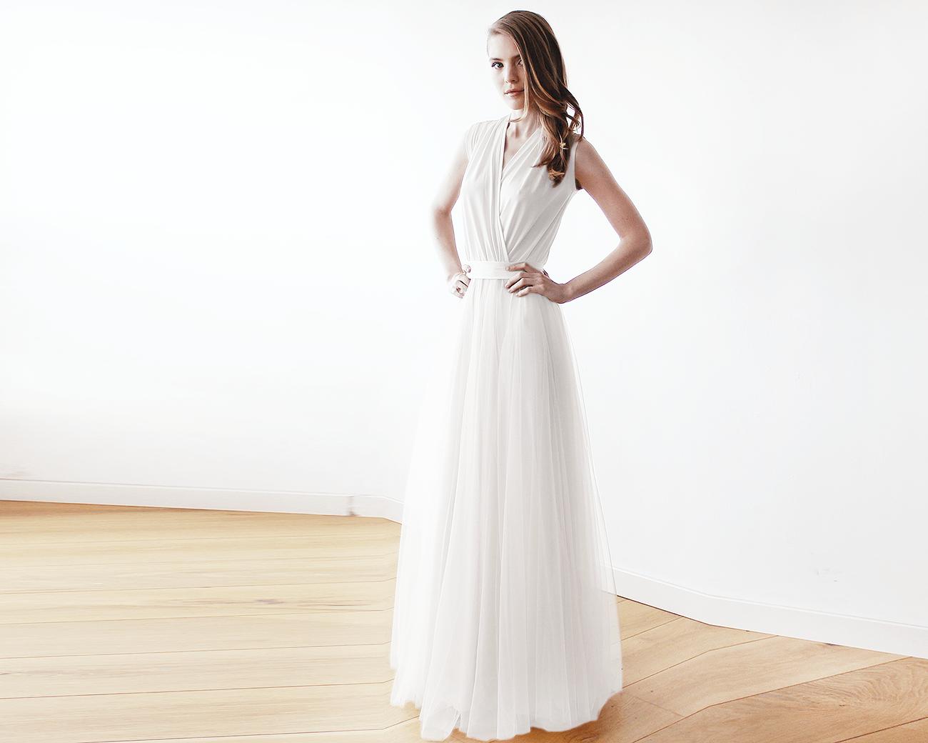 Ivory Wedding Gowns: Ivory Maxi Tulle Sleeveless Dress