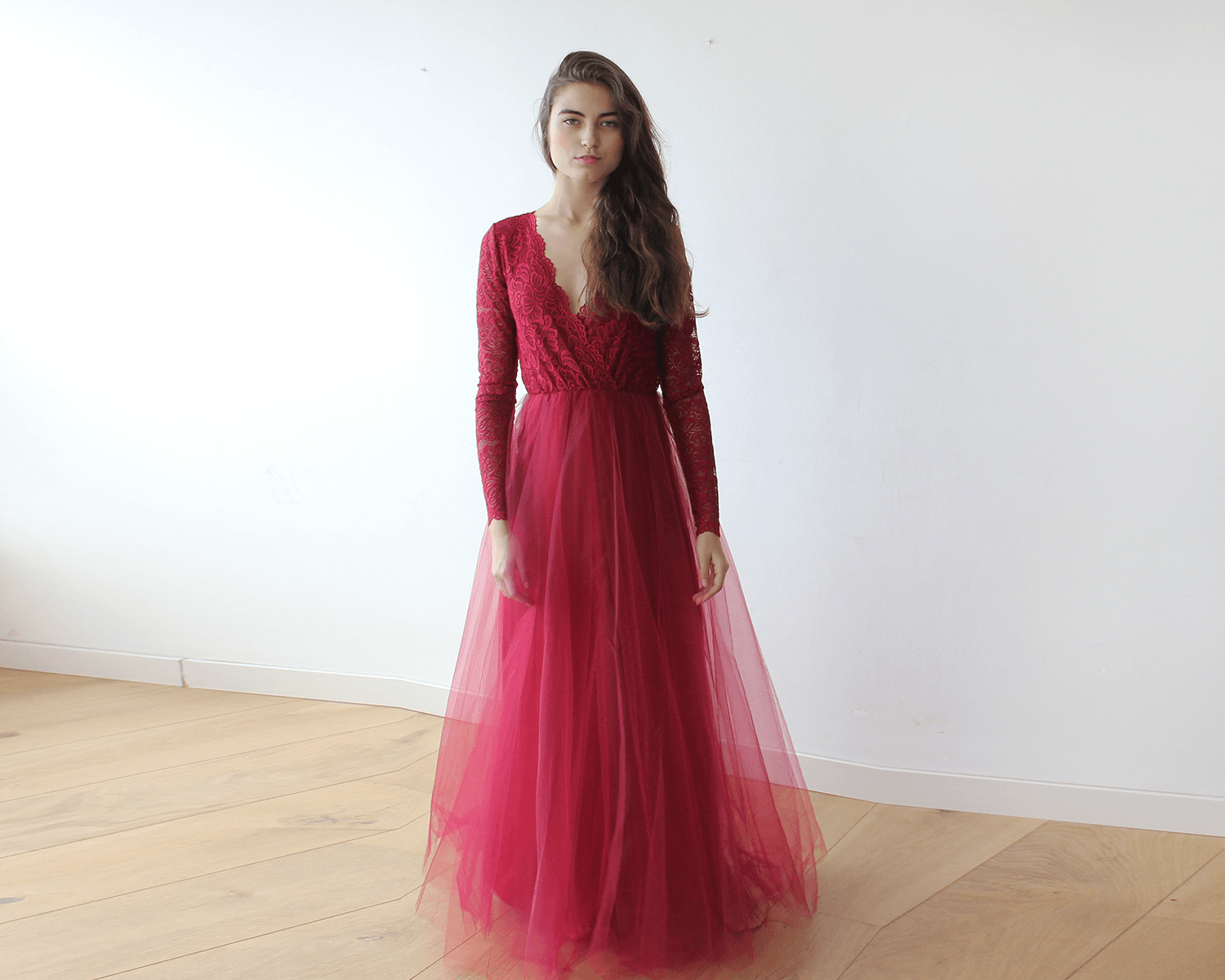 Bordeaux Tulle and Lace Long Sleeves Gown | BlogDresses