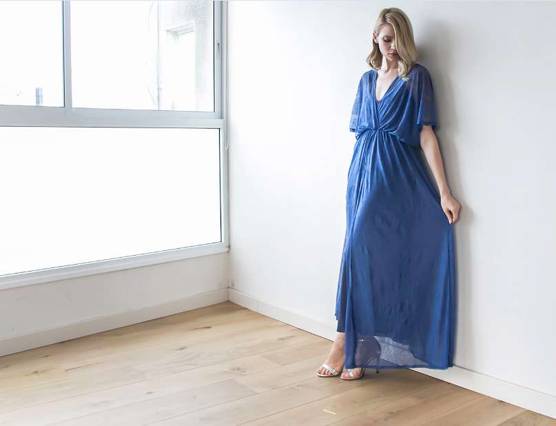 blue sheer lace maxi dress bat wings sleeves blogdresses