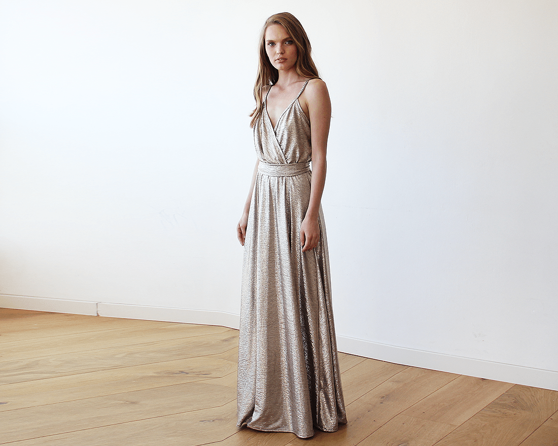 Metallic Gold Wrap Gown With Slit | BlogDresses