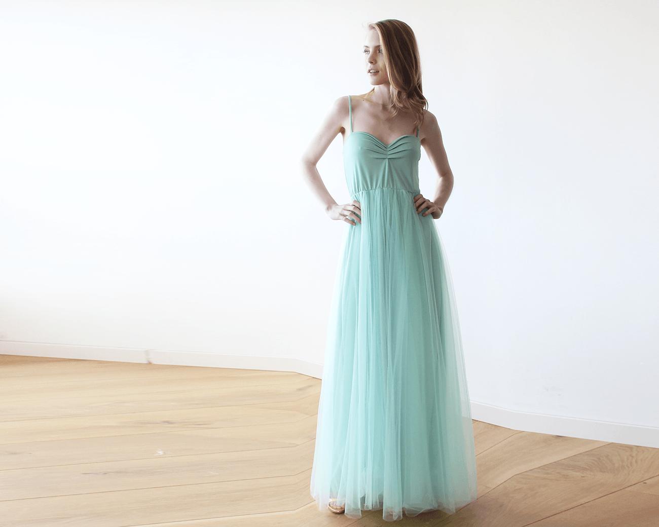 Mint maxi ballerina tulle dress - Blog Dresses