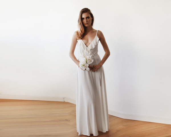 Bridal maxi wrap straps dress with ruffle