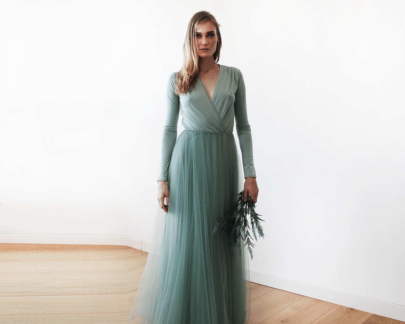 53d35f60bd Sage green maxi tulle dress with long sleeves
