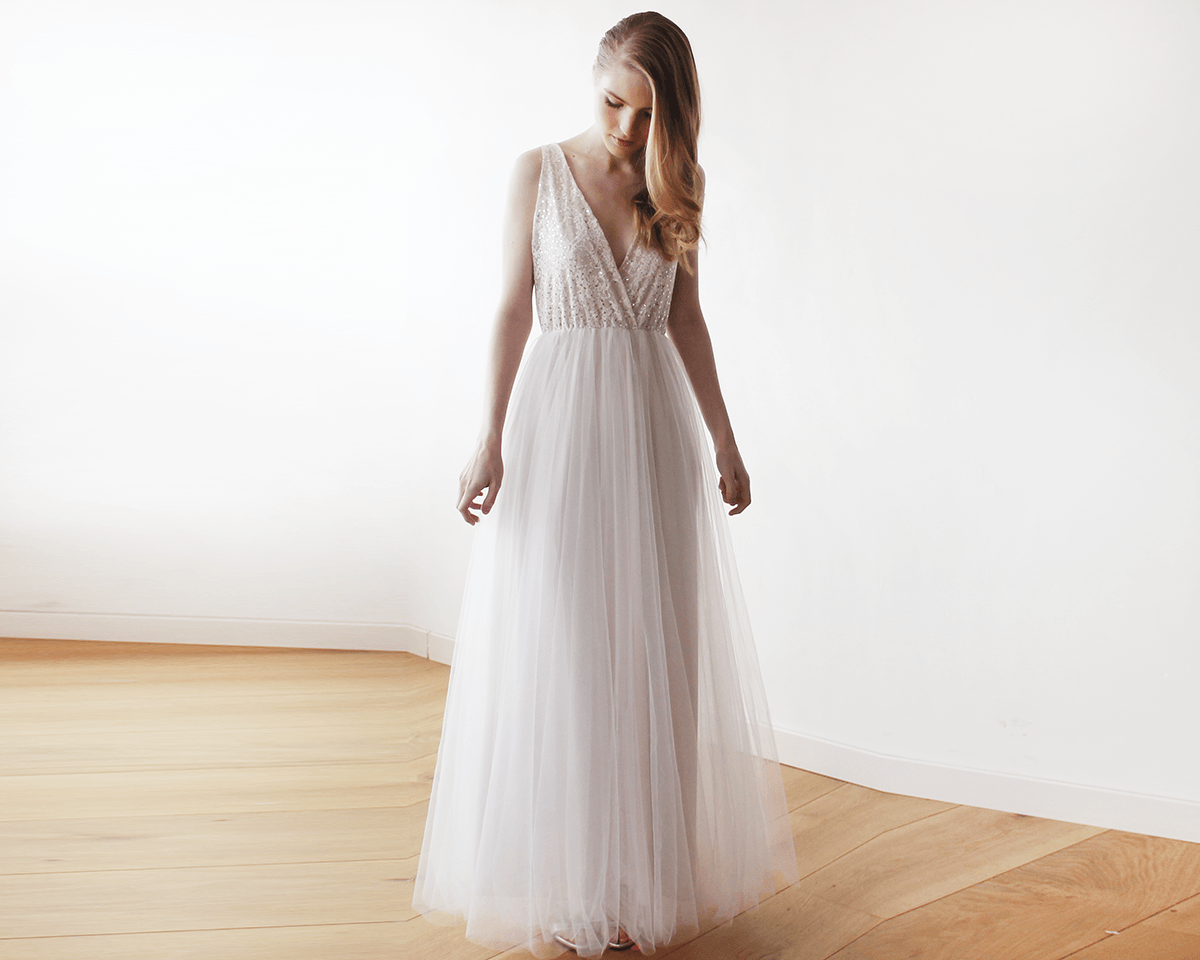Maxi tulle and sequins wedding dress | BlogDresses
